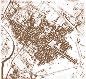 Mappa anticata del centro storico di Forlì