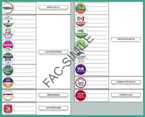Scheda elettorale Regionali 2020 fronte