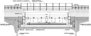 Sezione longitudinale del sovrappasso di Via Bagnolina
