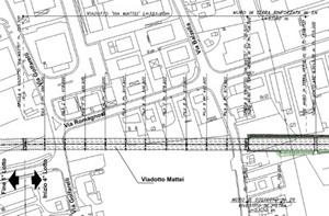 Planimetria di progetto del viadotto Via Mattei